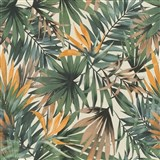 Vliesové tapety na stenu IMPOL Collection listy Tropical zelené na krémovom podklade