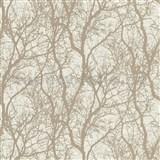 Vliesové tapety na stenu IMPOL Collection vetvičky s niklovým odleskom na krémovom podklade