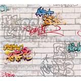 Papierové tapety na stenu biele tehly s graffity