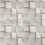 Vliesové tapety na stenu Collection 2 3D mozaika kociek sivá - POSLEDNÉ KUSY