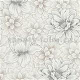 Vliesové tapety IMPOL Natural Living biele květy so striebornými a zlatými detailmi