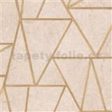 Vliesové tapety na stenu Exposure vápencové dlaždice hnedé so zlatými švami