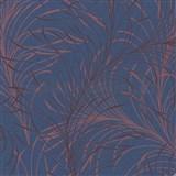 Vliesové tapety na stenu Felicita jemné listy červené na modrom podklade