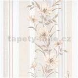 Vliesové tapety na stenu IMPOL Finesse kvety hnedé s béžovými pruhmi