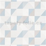 Vliesové tapety na stenu IMPOL Finesse trojúhelníky modro-sivé