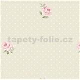 Vliesové tapety na stenu LITTLE FLORALS ruže na krémovom podklade s bodkami