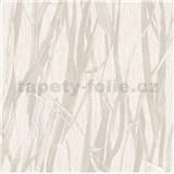 Luxusná vliesová tapeta na stenu NATURAL FOREST trstina svetlo hnedá s trblietkami