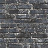 Vliesové tapety na stenu IMPOL Imitations 2 tehly modro-čierne