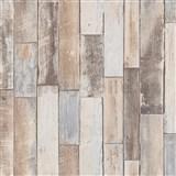 Vliesové tapety na stenu IMPOL Imitations 2 ukladané drevo hnedé s patinou