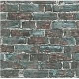 Vliesové tapety na stenu IMPOL Imitations 2 tehly hnedo-zelené