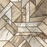 Vinylové tapety na stenu mramorované kachličky hnedé  - SLEVA
