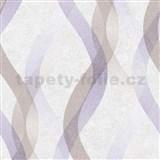 Vliesové tapety na stenu LIVIO vlnovky fialkovo-hnedé na krémovom podklade
