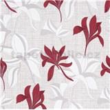 Vliesové tapety IMPOL Luna2 kvety červeno-sivé na textilnom podklade so striebornou niťou