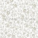 Vliesové tapety na stenu Mixing kvety hnedé na bielom podklade