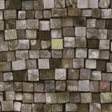 Vliesové tapety na stenu Origin - drevená mozaika hnedá