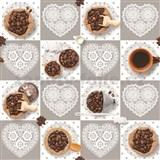Obrus metráž kávová zrnka s krajkovými srdiečky