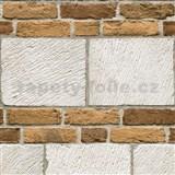 Vliesové tapety na stenu tehly bielo-hnedé