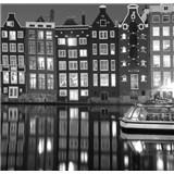 Luxusné vliesové fototapety Amsterdam - čiernobiele, rozmer 279 x 270cm
