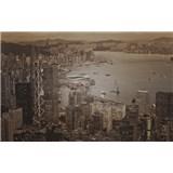 Luxusné vliesové fototapety Hong Kong - sépia, rozmer 418,5 cm x 270 cm