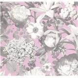 Vliesové tapety na stenu Seasons kvety sivé na ružovom podklade