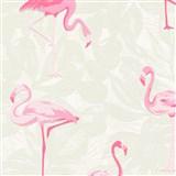 Vliesové tapety na stenu Boys & Girls plameniaky ružové na sivom podklade