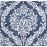 Vliesové tapety na stenu CARAT ornamentálny vzor sivý na modrom podklade s trblietkami