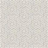 Vliesové tapety IMPOL City Glam geometrický vzor béžový so zlatými metalickými odleskami