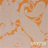 Tapety na stenu Ginas - kašmírový vzor biely na oranžovom podklade