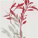 Vliesové tapety na stenu IMPOL Wall We Love kvety červeno-sivé na bielom podklade