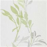 Vliesové tapety na stenu IMPOL Wall We Love kvety zeleno-sivé na bielom podklade