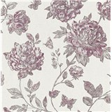 Vliesové tapety na stenu Classic kvety vínovo červené na textilnom podklade