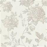Vliesové tapety na stenu Classic kvety sivé na textilnom podklade