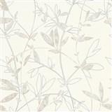 Vliesové tapety na stenu Natural Living popínavé vetvičky s lístkami hnedo-sivé