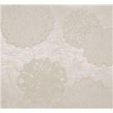 Vliesové tapety Estelle kvety biele na krémovom podklade