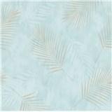 Vliesové tapety na stenu G.M.K. Fashion for walls palmové listy zlaté na modrom podklade