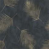 Vliesové tapety na stenu G.M.K. Fashion for walls palmové listy zlaté na čiernom podklade