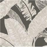 Vliesové tapety na stenu Felicita listy svetlo hnedé na tmavo hnedom podklade