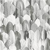 Vliesové tapety na stenu Felicita lístky sivé
