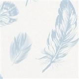 Vliesové tapety na stenu Felicita perie modré na bielom podklade