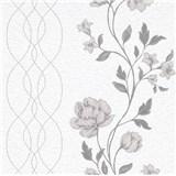 Vliesové tapety na stenu IMPOL Finesse kvety sivé na bielom podklade