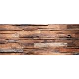Vliesové fototapety drevená stena rozmer 375 cm x 150 cm