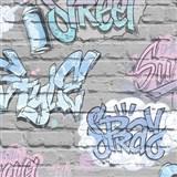 Papierové tapety na stenu Freestyle grafitti ružove na sivej tehlovej stene