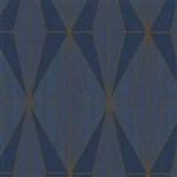 Vliesové tapety na stenu IMPOL Giulia Art-Deco vzor modrý so zlatými kontúrami