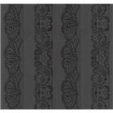 Vliesové tapety na stenu Glamour čipka čierna na čiernom podklade