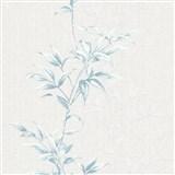 Vliesové tapety na stenu IMPOL Hailey popínavé listy modré na svetlo sivom podklade