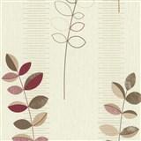 Vliesové tapety na stenu Happiness listy bordó-hnedé na hnedo-bielom podklade