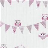 Papierové tapety na stenu Happy Kids 2 - sovy ružové - POSLEDNÝ KUS
