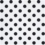 Papierové tapety na stenu biela lesklá s čiernymi bodkami