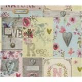 Papierové tapety na stenu Je T´aime vintage ružový, žltý, modrý