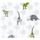 Detské vliesové tapety na stenu Little Stars dinosaury zeleno-hnedí